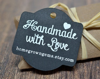 Chalkboard Style Handmade with Love Thank You Hang Tags - Gift Tags - Packaging - White on Black Glitter Gold Silver - Wedding | DS0091