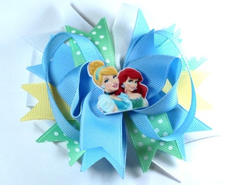 Boutique Cinderella and Ariel Princess Inspired  Hair Bow Clip
