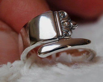 Sterling Crown Spoon Ring, name your size 5 to 7