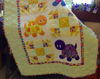 turtle quilt in greens and multi colors baby unisex quilted blanket