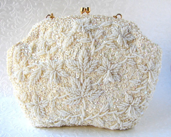 Vintage Beaded Purse Ivory Wedding Clutch Sequin Bridal Handbag Formal Evening Bag Star Flowers Fringe Dangle Maple Leaves Gold Chain Strap