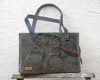 Unique Gray Leather Bag - Leather Shoulder Bag - Leather Handbag - Leather Purse - Women's Bag - German Boy's Leather Lederhosen Upcycled