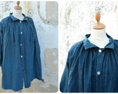 Vintage Antique 1900 French Indigo biaude / workwear / peasant blouse