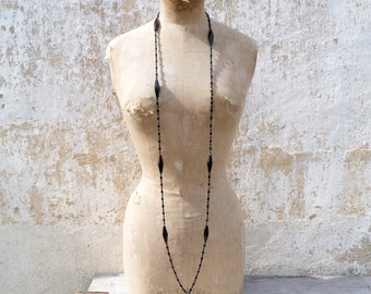 Vintage Antique French Victorian 1890/1900  Long black oblong faceted jet beads  sautoir necklace