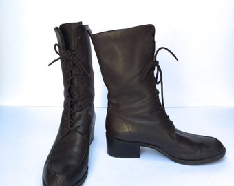 Rare Vintage 90s lace up military boots Size 7.5 US