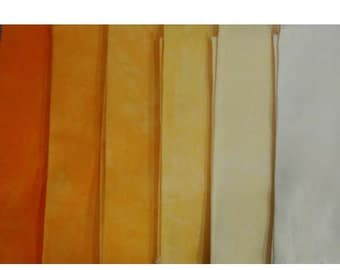 muted Yellow to Orange Shades - hand dyed Fabric - 6 pc Fat Quarter Gradation Bundle - Tuscan Rose MY341