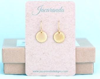 Small Gold Earrings - Gold Disc Earrings - Tiny Earrings - Round Earrings - Gift For Woman - Sweet Earrings - Lightweight Dangle earrings