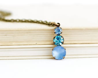 Vintage Crystal Pendant Necklace, Victorian Style, Delicate, Blue Jewel Pendant, Sparkly Necklace, Gift for Woman, Gift For Her