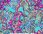 "Aqua Bait and Switch Lilly Inspired HTV, pattern vinyl, sheet size 12""x12"" , Lily P adhesive printed patterned craft vinyl LP-34"