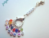 Sock Knitter's Stitch Markers Letter A-H Rainbow Beads with Optional Row Counter