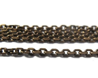 Labor Day SALE - 10 Feet of Thin Brass Chain, Antique Brass Cable Chain, Ten Feet, Diamond Cut Chain, 2mm Vintage Chain for Making Jewelry (