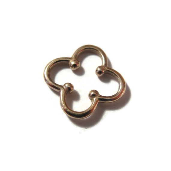 Gold Clover Link, Four Leaf Clover with Dots, Jewelry Charms, Natural Bronze Charm, Four Leaf Clover, Connector (CH-1046b)