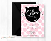 Cat Birthday Party Invitation - Pink Poka Dot Kitten - Darling Kitty Party - Pink and Black - Girls Birthday - Digital File or Printed