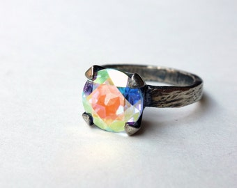 Prism Topaz on Bark Band // Oxidized Sterling Silver Handmade Ring