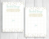 Printable Bridal Shower Bingo 5x7 Bridal Shower Party Game - Mint and Gold Glitter Polka Dots - Instant Download