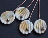 4 Ivory Gold Shells 23K Fine Gold Foil Head Pin Handmade lampwork glass headpins by Beadfairy Lampwork
