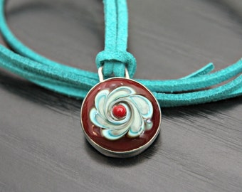 Lampwork and Sterling Silver Handmade Pendant on Turquoise Faux Suede