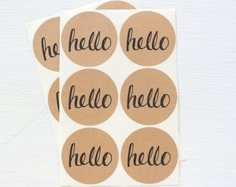 2 inch circle stickers - hello