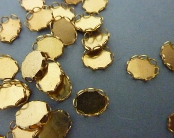 24 Oval Settings 8 mm x 6 mm - Flatback - Raw Brass