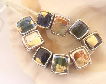 9 Silver Glass Handmade Lampwork Cube Beads