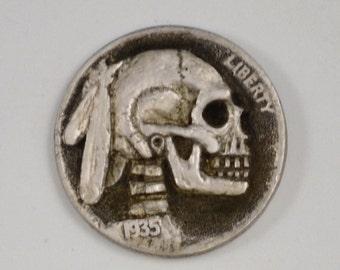 Indian Head Hobo Nickel Buffalo Nickel Skull Engraved Coin Charm Pendant, Skull Necklace, Memento Mori, Engraved Coin Skull Carving