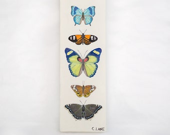 Butterfly Collection I-Original Oil Painting 4 x 12 inches