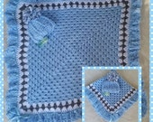 Hand crocheted baby receiving blanket for boys or girls with coordinatd pompom hat, beautiful gift for a newborn