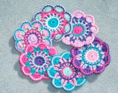 6 handmade cotton thread crochet applique flowers -- 2473