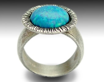 Blue opal ring, gemstone ring, blue stone ring, silver stone ring, Sterling silver ring, statement ring, cocktail ring - Aqua di dio R1389C