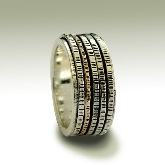 Sterling silver band, unisex band, meditation band, silver and gold spinners ring, stacking ring, two one band - After all this time R1149B