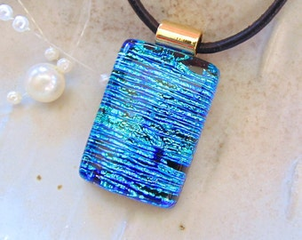 Blue Necklace, Aqua, Dichroic Glass Pendant, Necklace, Fused Glass Jewelry, Necklace Included, A13