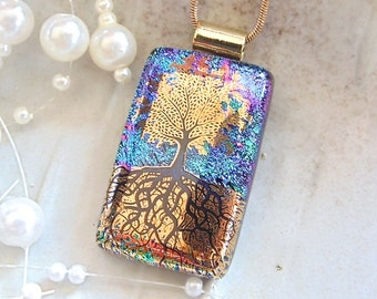 Tree of Life Dichroic Pendant, Glass Jewelry, Fused Jewelry, Necklace Included, Gold Metallic, Black, A3