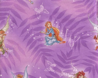 Fairies On Leaves And Butterflies Fabric