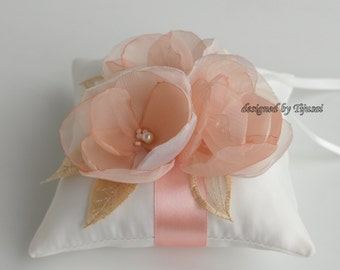 Wedding ring bearer pillow with peach/ivory flowers, embroidered leaves-ring bearer, ring cushion, ready to ship