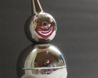 Roly Poly Clown Bank - Chrome Clown - Made by Raimond - Weighted Metal Savings Bank
