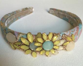 Flower Jewelry Headband |Embellished flower Headband | Costume Jewelry  Headband| Vintage Flower Style |Alternative Bride