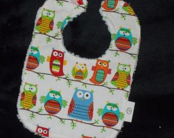 Kooky Owls Chenille Boutique Bib