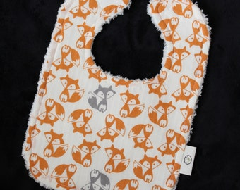 Orange and Gray Foxes Chenille Bib