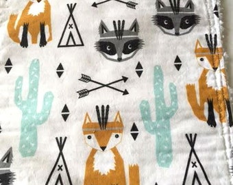 Trendy Baby Burp Cloth Southwest Teepee Fox Raccoon Cactus Arrows by Charlotte Winter Cotton Chenille Baby Shower Gift Gender Neutral