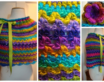 Colorful Shoulderette / Cowl / Poncho/Ponchette/