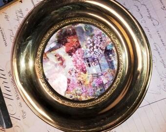 Vintage Village Town Brass Plate