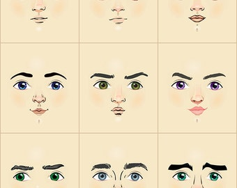 Boys and men cloth doll faces ready to sew fabric panel cream A4C