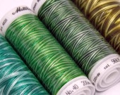 Pack of 4 Mettler Poly Sheen Multi Variegated Threads Green Fields Mossy Tones Minty Leaves Spring Grass Quilting Embroidery Thread Painting