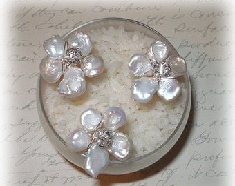 ON SALE 15% OFF Keishi Pearl Flower Hairpins