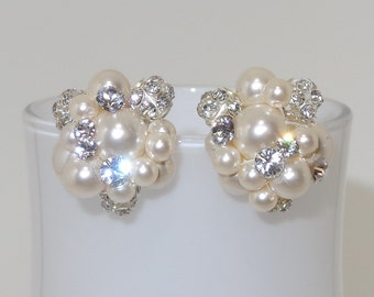 Swarovski Pearl and Crystal Bridal Cluster Stud Earrings Wedding Rhinestone Accents in Ivory Jewelry Bridesmaids Gift