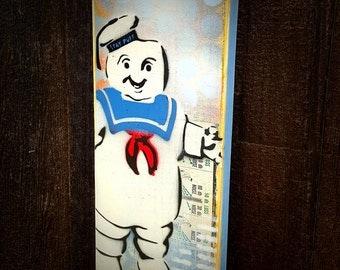 Stay Puft Marshmallow Man Graffiti Painting on Canvas Pop Art Style Original Artwork Stencil Urban Street Art