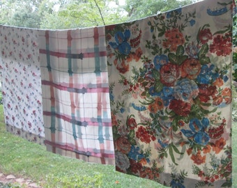 Three Vintage Queen Pillowcases - Assorted Prints and Fabrics