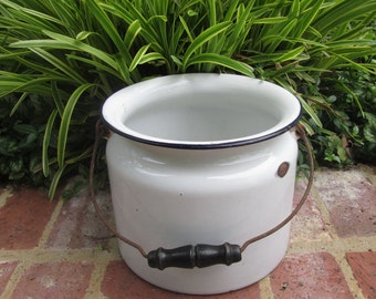 Vintage Enamelware Bucket/ Chamber Pot/ Pail - White With Black
