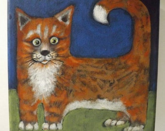 Original signed acrylic painting Orange TABBY Cat with WHITE SOCKS  by Ellen Haasen