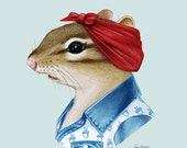 Chipmunk Lady - modern animal art - gallery wall art - apartment art - animals in clothes - animal artwork - Ryan Berkley 5x7